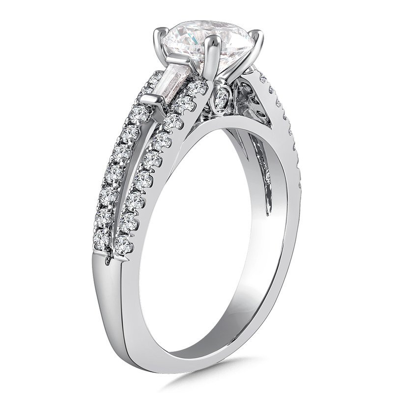 Caro74 Diamond Engagement Ring Mounting in 14K White Gold with Platinum Head (.51 ct. tw.)