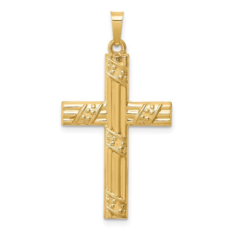 Quality Gold 14K Hollow Polished Textured Striped Latin Cross