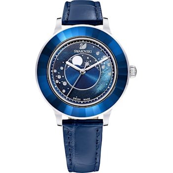 Octea Lux Moon Watch, Leather Strap, Dark blue, Stainless steel