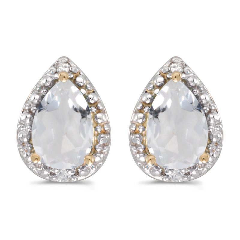 Color Merchants 10k Yellow Gold Pear White Topaz And Diamond Earrings