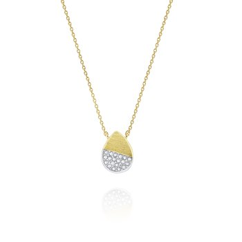 14 Kt. Brushed Gold & Diamond Teardrop Tag Pendant