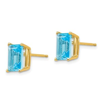 14k 8x6mm Emerald Cut Blue Topaz Earrings