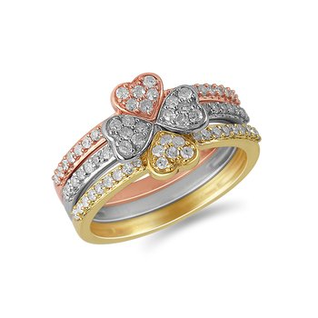 925 Sterling Silver, Rose & Gold  Diamond Fashion Ring