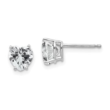 14k White Gold 6mm Heart Cubic Zirconia Earrings