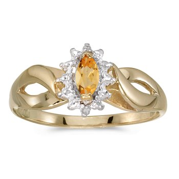 10k Yellow Gold Marquise Citrine And Diamond Ring