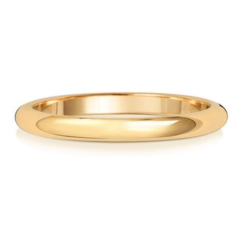9Ct Yellow Gold 2mm D Shape Wedding Ring
