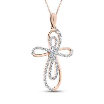 1/4 Ct Diamond Cross Pendant with Chain