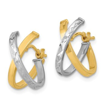 14k Two-Tone Diamond-cut Polished Hoop Earrings