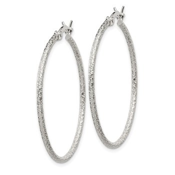 Sterling Silver Textured 2x35mm Hoop Earrings
