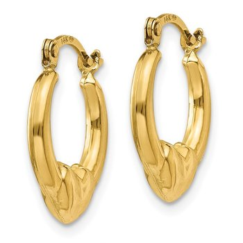 14K Hollow Heart Hoop Earrings