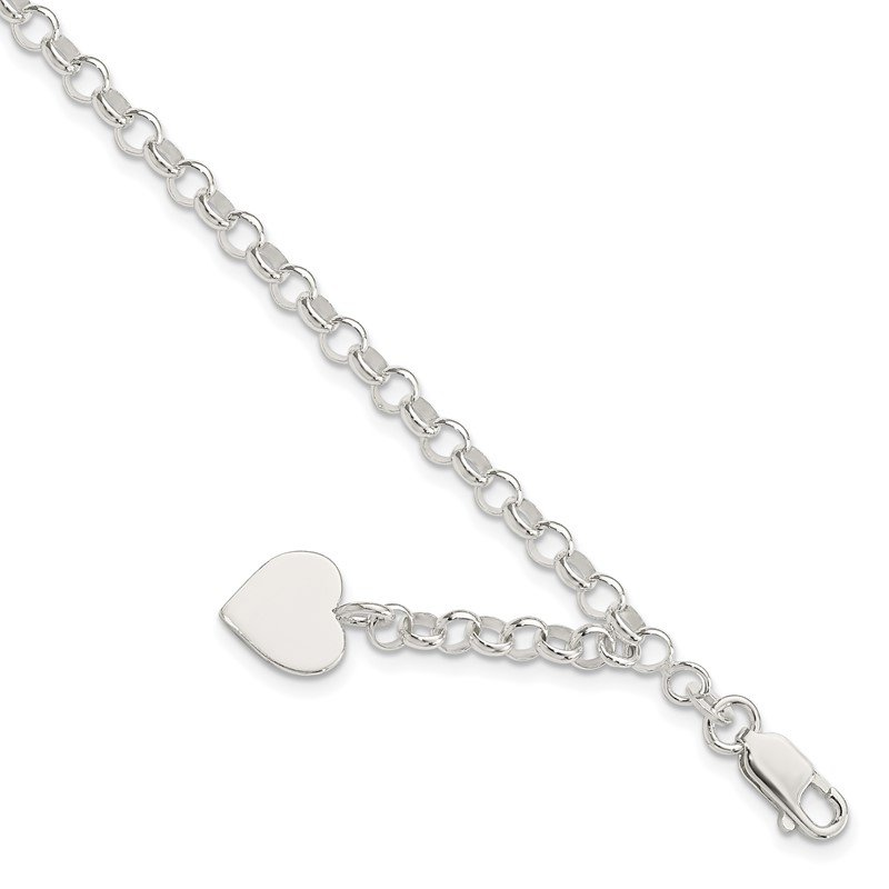 Quality Gold Sterling Silver Engraveable Heart Charm Rolo Bracelet