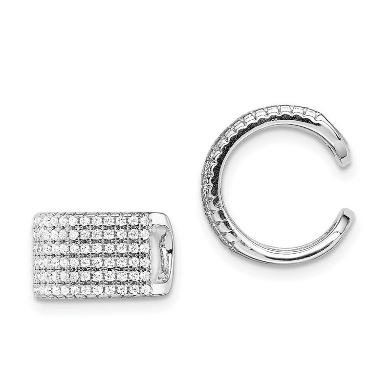 Quality Gold Sterling Silver Rhodium-plated Pave CZ Single Individual Ear Cuff