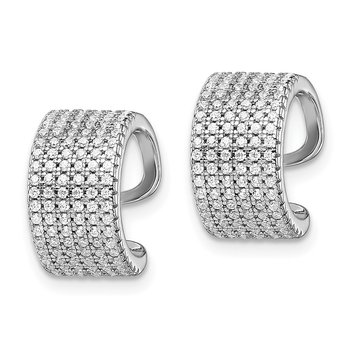 Sterling Silver Rhodium-plated Pave CZ Single Individual Ear Cuff