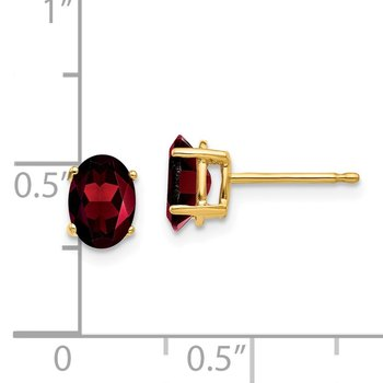 14k 7x5mm Oval Garnet Earrings