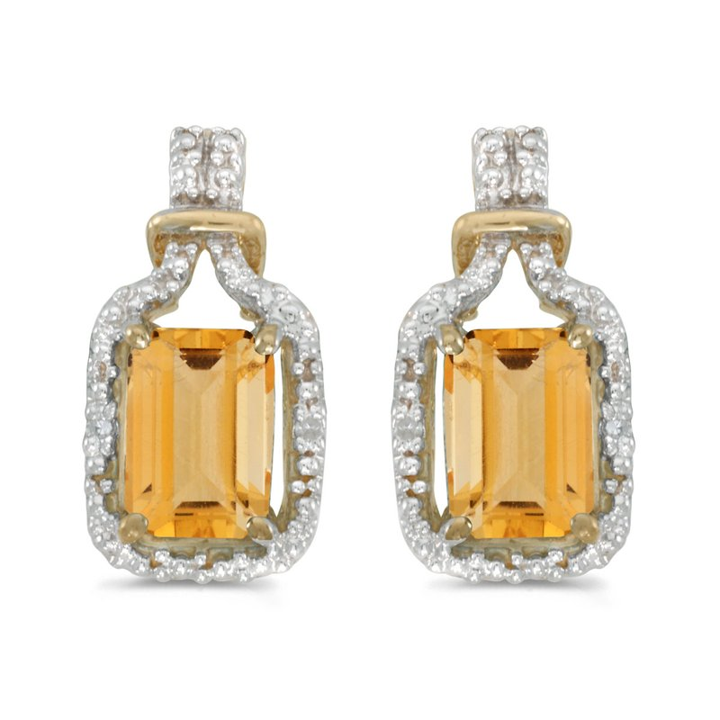 10k Yellow Gold Emerald-cut Citrine And Diamond Earrings