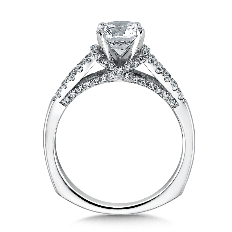 Valina Bridals Mounting with side stones .37 ct. tw., 1 ct. round center.