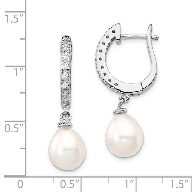 Cheryl M Cheryl M SS Rhodium Plated CZ & FWC Pearl Leverback Dangle Earrings