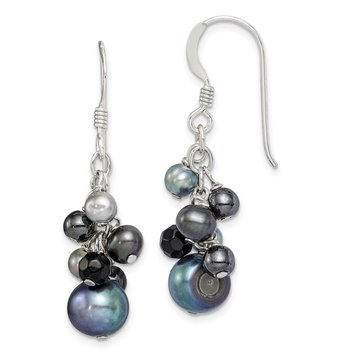 Sterling Silver Black FW Cultured Pearls and Onyx Dangle Earrings