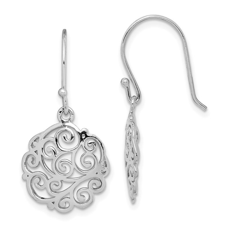 Sterling Silver Rhodium-plated Filigree Circle Dangle Earrings