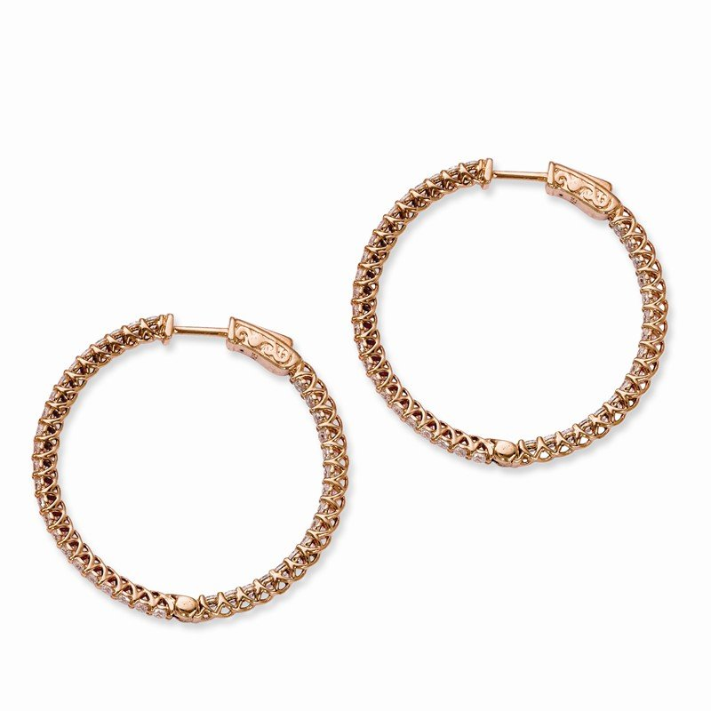 Quality Gold Sterling Silver Rose IP-plated CZ In and Out Hinged Hoop Earrings
