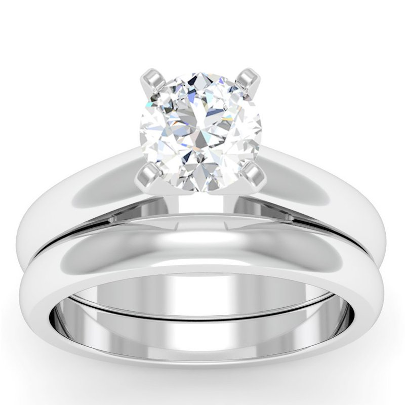 California Coast Designs Rounded Cathedral Engagement Ring with Matching Wedding Band