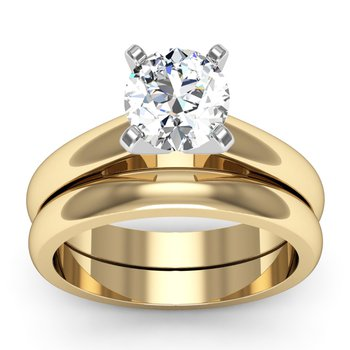Rounded Cathedral Engagement Ring with Matching Wedding Band