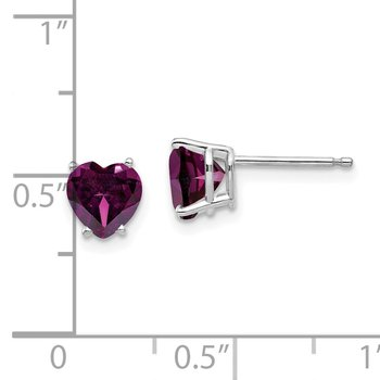 14k White Gold 6mm Heart Rhodolite Garnet Earrings
