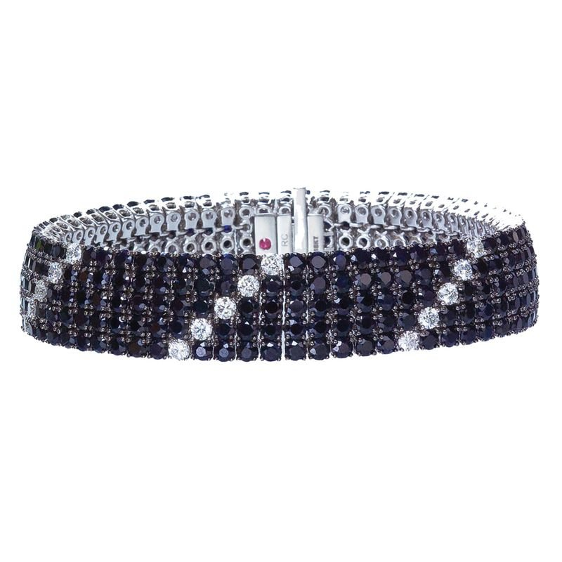 Roberto Coin 18Kt Gold Flex Bracelet With Black Sapphires And White Diamonds