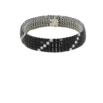 18KT GOLD FLEX BRACELET WITH BLACK SAPPHIRES AND WHITE DIAMONDS
