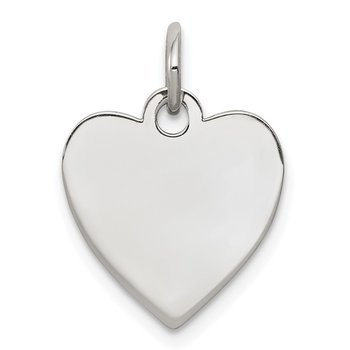 SS Rh-plt Engraveable Heart Polished Front/Satin Back Disc Charm