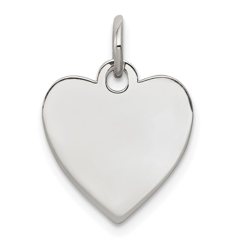 Lester Martin Online Collection SS Rh-plt Engraveable Heart Polished Front/Satin Back Disc Charm