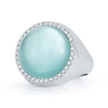 Ring with Diamonds, Agate and Mother of Pearl