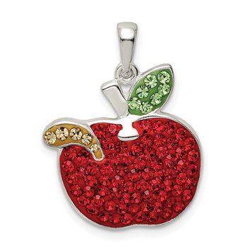 Sterling Silver Red Preciosa Crystal Apple w/Worm Pendant