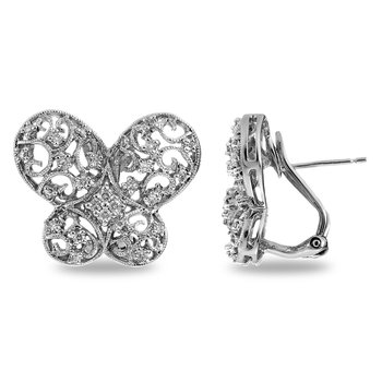 14K WG Diamond Butterfly Earring