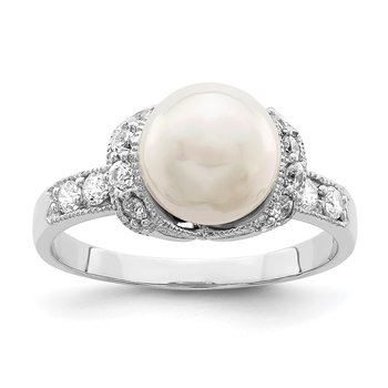 Sterling Silver Rhodium-plated Simulated Pearl and CZ Ring