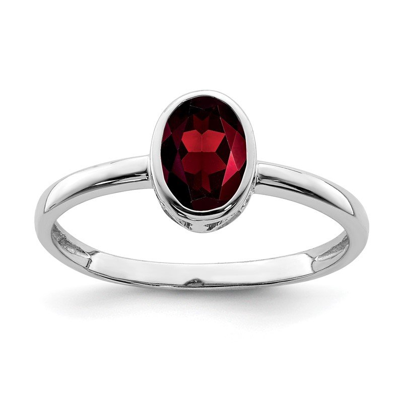 Fine Jewelry by JBD Sterling Silver Rhodium-plated Polished Garnet Oval Ring