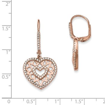 Sterling Silver Rose-tone CZ Brilliant Embers Heart Leverback Earrings