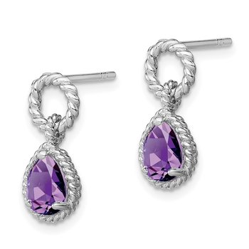 Sterling Silver Rhodium Amethyst Pear Twisted Earrings