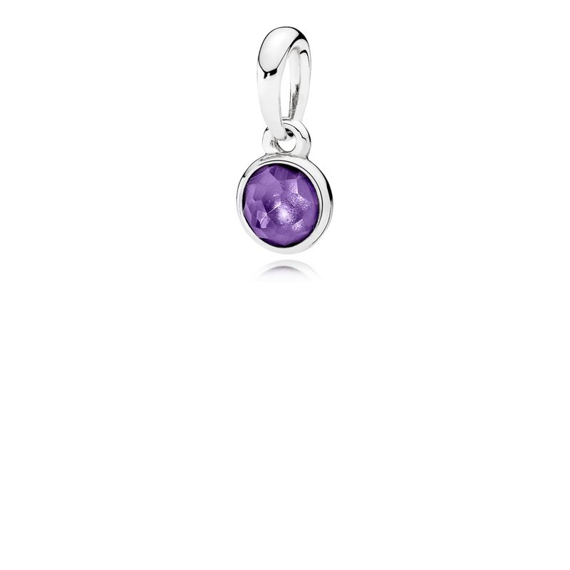 PANDORA February Droplet Pendant, Synthetic Amethyst