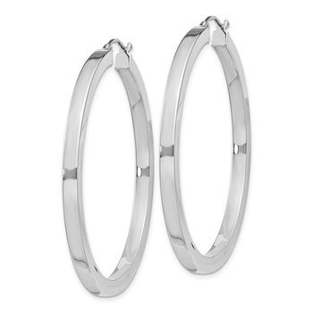 Sterling Silver Rhodium-plated 3x45mm Square Tube Hoop Earrings