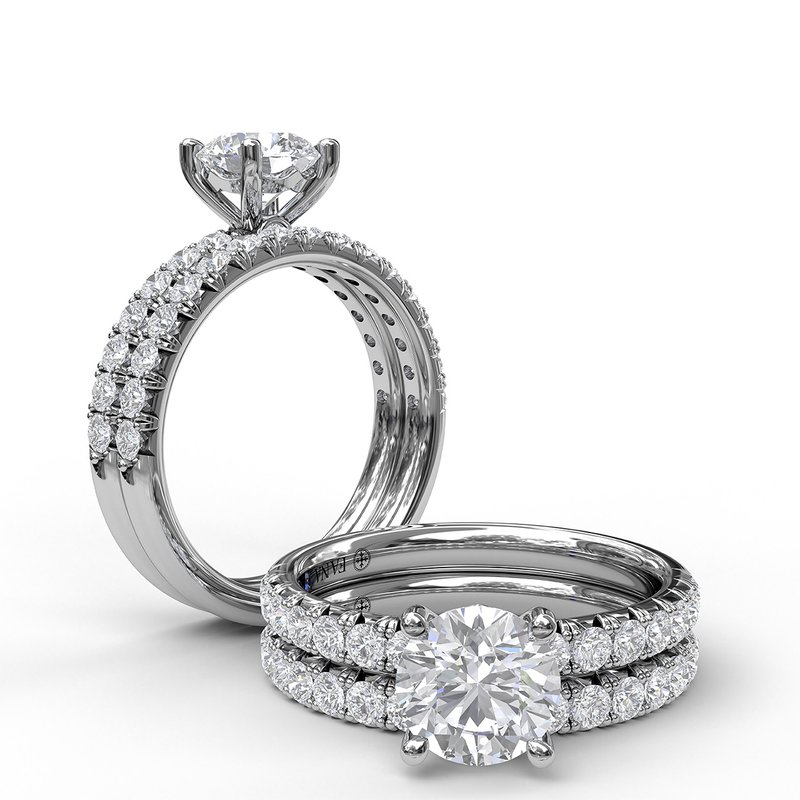 Fana Classic French-Cut Pave Round Solitaire