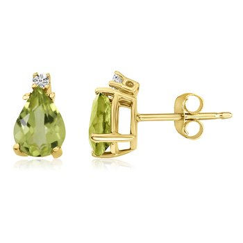 14k Yellow Gold Pear Peridot and Diamond Earrings