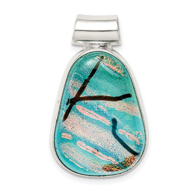 Quality Gold Sterling Silver Teal Dichroic Glass Teardrop Pendant