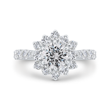 18K White Gold Round Diamond Floral Engagement Ring with Round Shank (Semi-Mount)