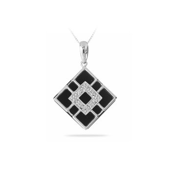 14K WG Diamond and Onyx Pendant