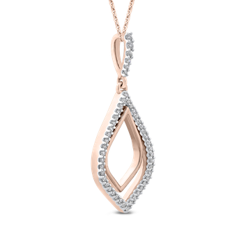 10K Rose Gold 1/5 Ct Diamond Fashion Pendant with Chain