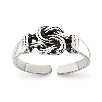 Sterling Silver Antiqued Love Knot Toe Ring