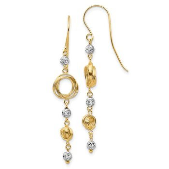 14k Two-tone Diamond-cut Beads & Love Knots Dangle Earrings