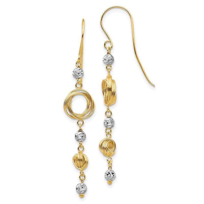 J.F. Kruse Signature Collection 14k Two-tone Diamond-cut Beads & Love Knots Dangle Earrings