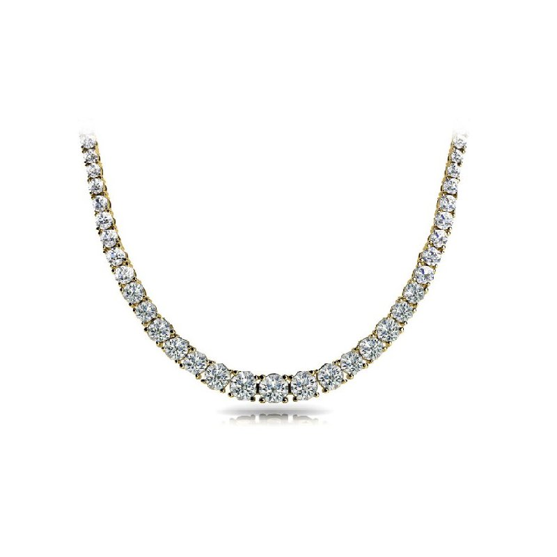 Briana Yellow Gold Four Prong Diamond Necklance